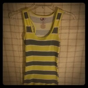 OP yellow grey and white striped tank top
